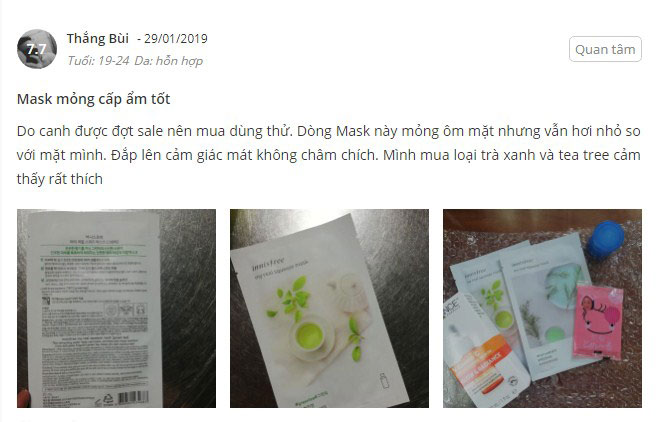 mặt nạ hũ innisfree review