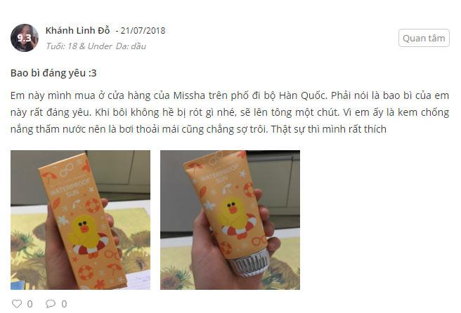 review kem chống nắng missha line friend