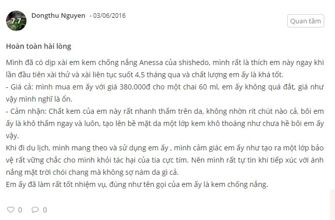 review kem chống nắng anessa whitening uv protector
