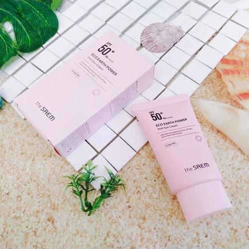 kem chống nắng the saem pink review