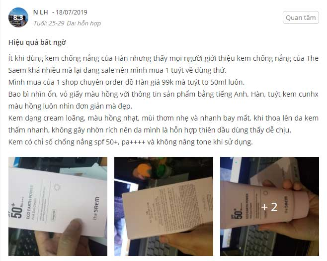 kem chống nắng the saem review