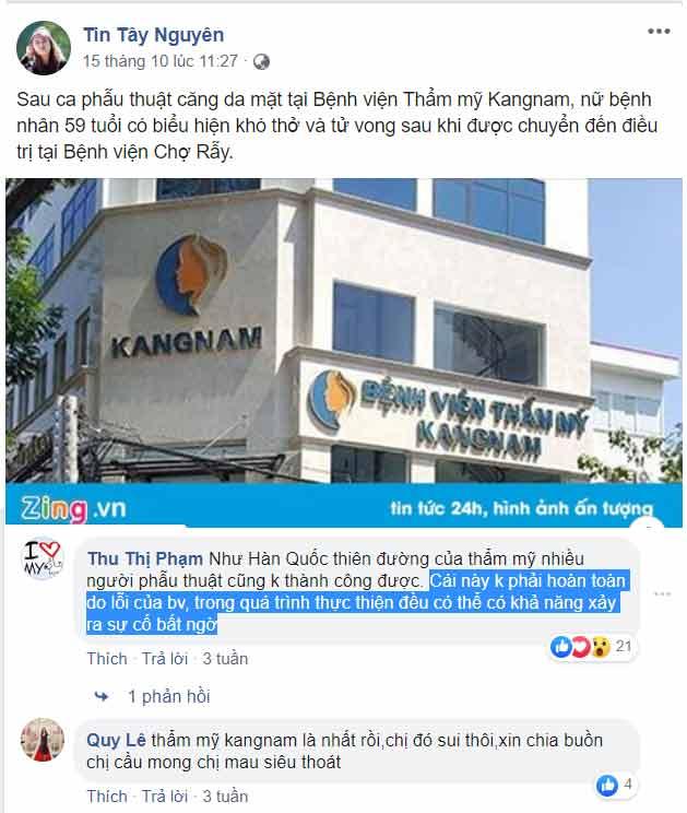 thẩm mỹ viện kangnam phẫu thuật làm chết người